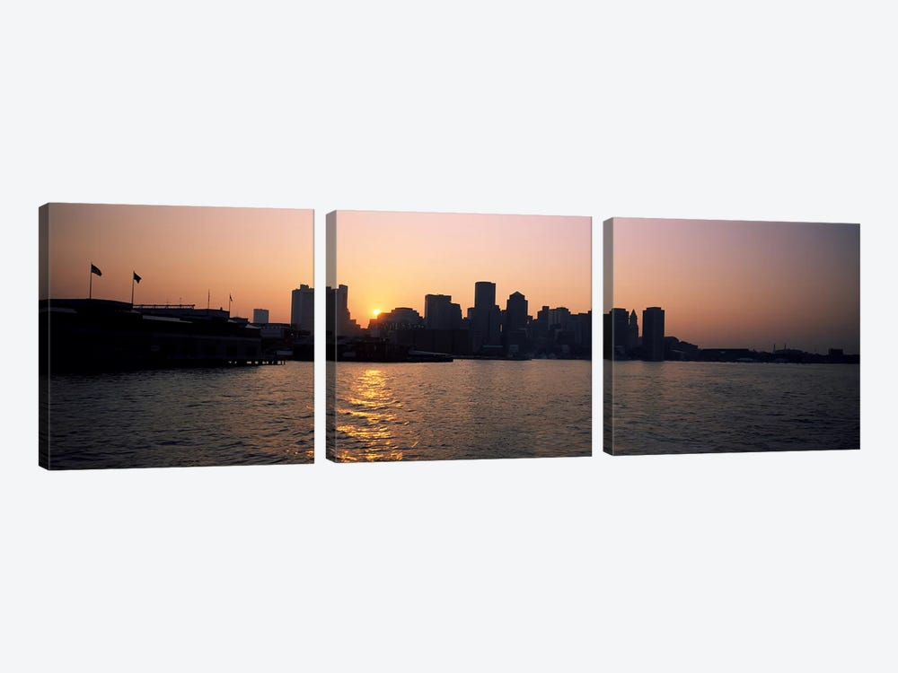 Buildings at the waterfront, Boston Harbor, Boston, Suffolk County, Massachusetts, USA by Panoramic Images 3-piece Canvas Wall Art