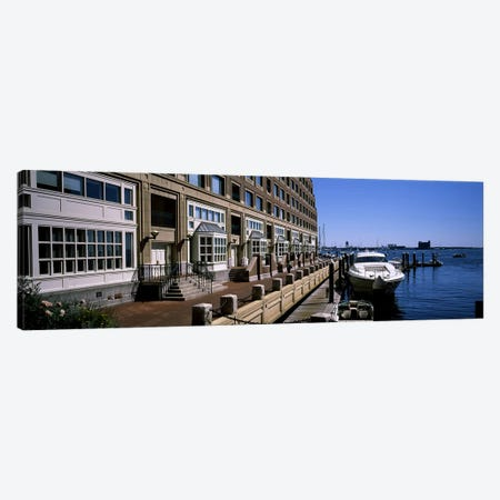 Boats at a harborRowe's Wharf, Boston Harbor, Boston, Suffolk County, Massachusetts, USA Canvas Print #PIM6961} by Panoramic Images Art Print