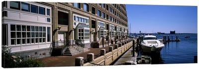 Boats at a harborRowe's Wharf, Boston Harbor, Boston, Suffolk County, Massachusetts, USA Canvas Print #PIM6961