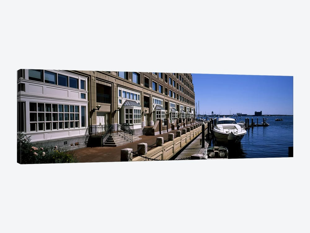Boats at a harborRowe's Wharf, Boston Harbor, Boston, Suffolk County, Massachusetts, USA by Panoramic Images 1-piece Art Print