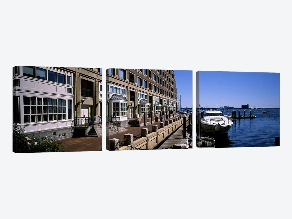 Boats at a harborRowe's Wharf, Boston Harbor, Boston, Suffolk County, Massachusetts, USA by Panoramic Images 3-piece Canvas Print