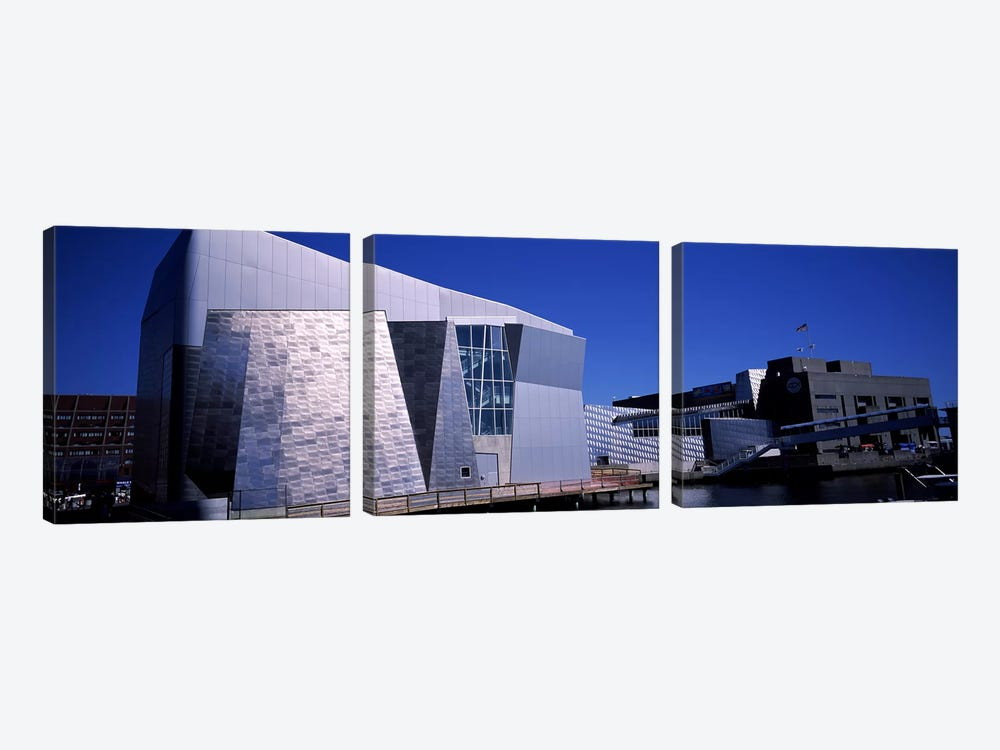 Buildings at the waterfront, New England Aquarium, Boston Harbor, Boston, Suffolk County, Massachusetts, USA by Panoramic Images 3-piece Canvas Art