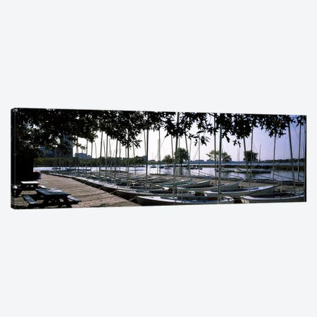 Boats moored at a dock, Charles River, Boston, Suffolk County, Massachusetts, USA Canvas Print #PIM6963} by Panoramic Images Art Print