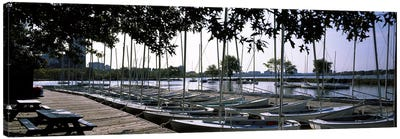 Boats moored at a dock, Charles River, Boston, Suffolk County, Massachusetts, USA Canvas Art Print