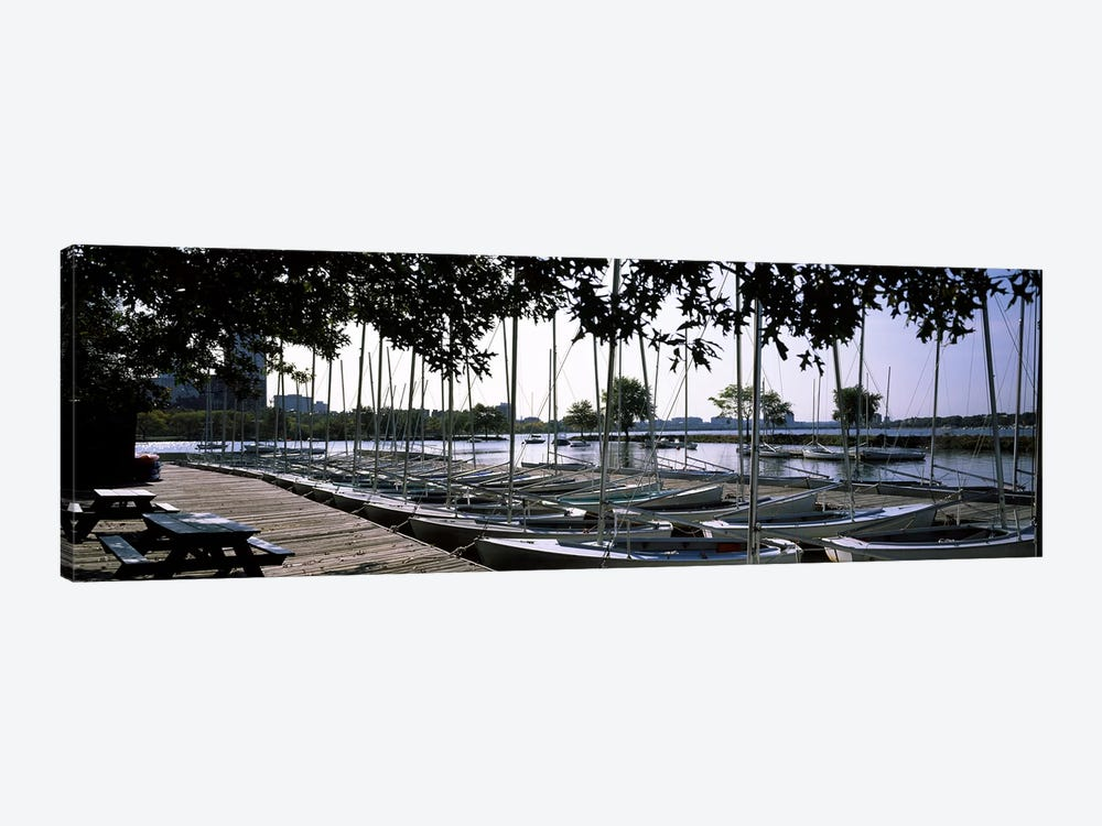 Boats moored at a dock, Charles River, Boston, Suffolk County, Massachusetts, USA by Panoramic Images 1-piece Canvas Art Print