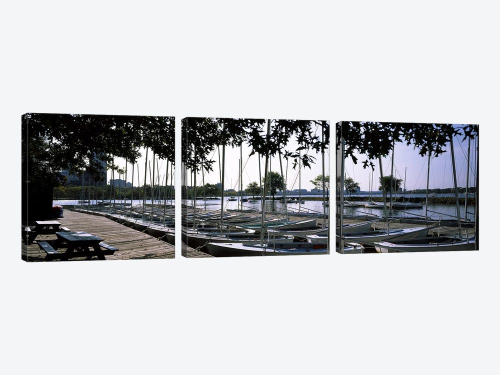 Boats moored at a dock, Charles River, Boston, Suffolk County, Massachusetts, USA by Panoramic Images 3-piece Art Print