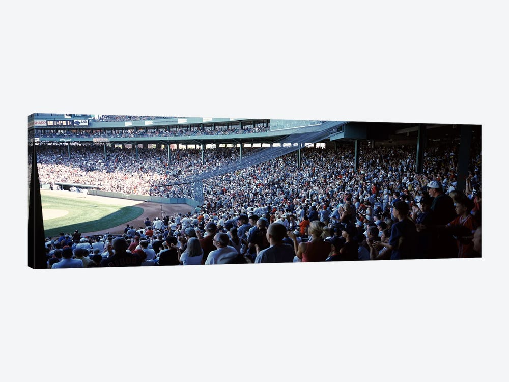 Spectators watching a baseball match in a stadium, Fenway Park, Boston, Suffolk County, Massachusetts, USA by Panoramic Images 1-piece Canvas Wall Art
