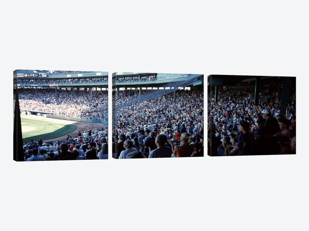 Spectators watching a baseball match in a stadium, Fenway Park, Boston, Suffolk County, Massachusetts, USA by Panoramic Images 3-piece Canvas Art