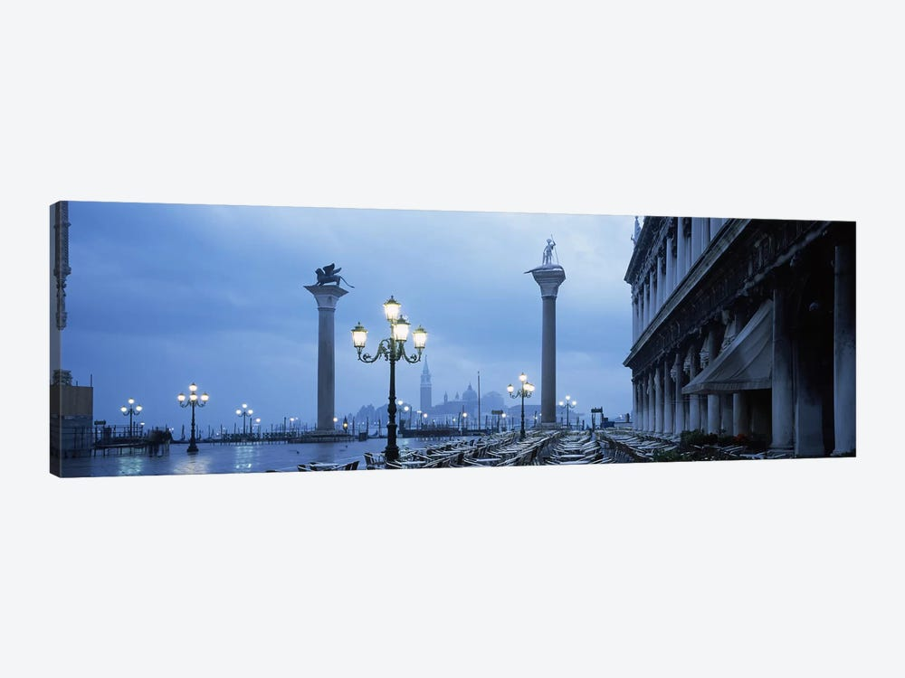 St. Theodore & Lion Of Venice Columns With San Giorgio Maggiore In The Background, Venice, Italy by Panoramic Images 1-piece Canvas Artwork