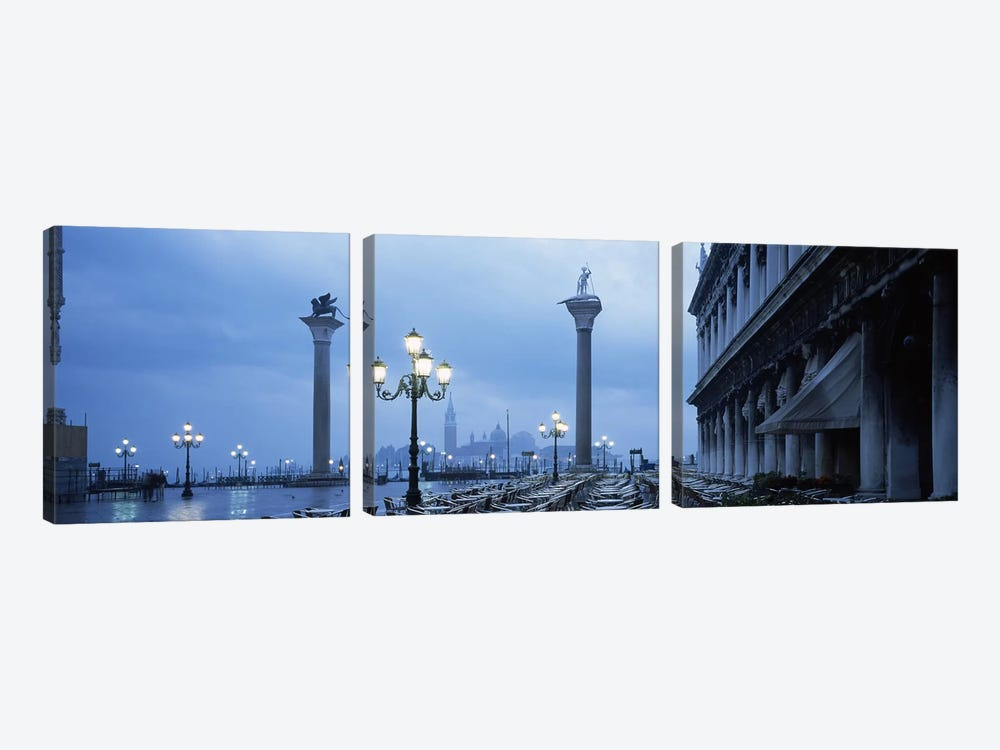St. Theodore & Lion Of Venice Columns With San Giorgio Maggiore In The Background, Venice, Italy by Panoramic Images 3-piece Canvas Art