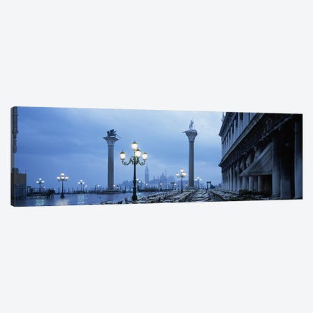 St. Theodore & Lion Of Venice Columns With San Giorgio Maggiore In The Background, Venice, Italy 3-Piece Canvas #PIM6966} by Panoramic Images Canvas Art