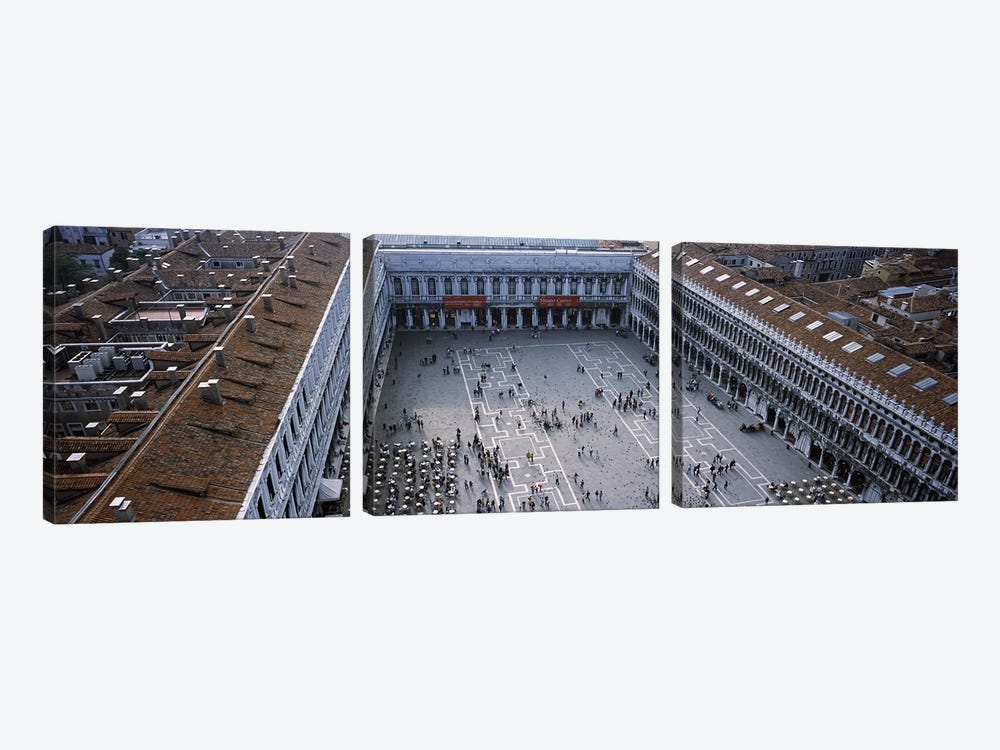 High angle view of a town square, St. Mark's Square, St Mark's Campanile, Venice, Veneto, Italy by Panoramic Images 3-piece Canvas Art