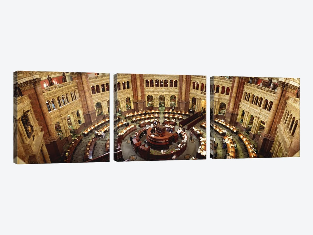 High angle view of a library reading roomLibrary of Congress, Washington DC, USA by Panoramic Images 3-piece Art Print