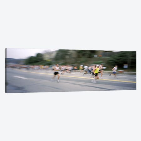 Marathon runners on a road, Boston Marathon, Washington Street, Wellesley, Norfolk County, Massachusetts, USA Canvas Print #PIM6972} by Panoramic Images Canvas Artwork