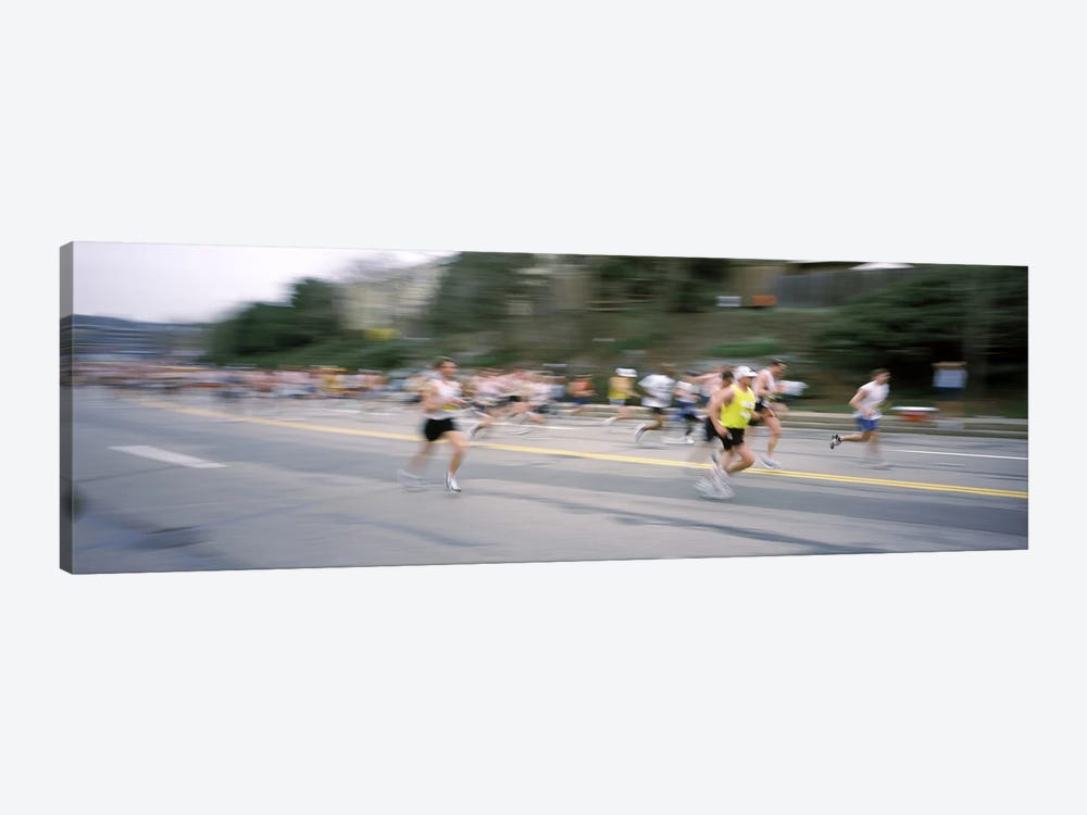 Marathon runners on a road, Boston Marathon, Washington Street, Wellesley, Norfolk County, Massachusetts, USA by Panoramic Images 1-piece Art Print