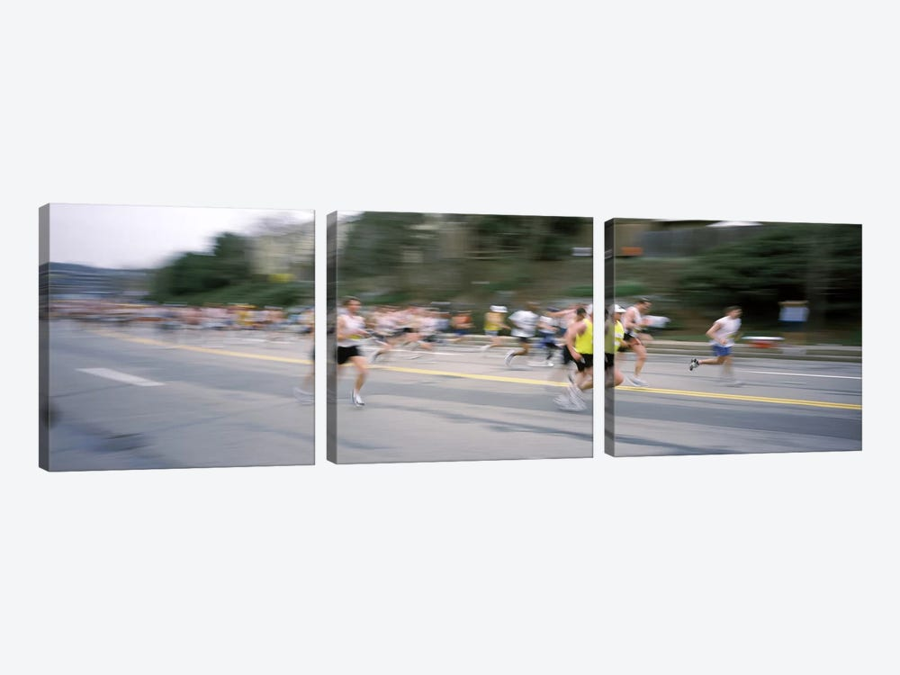 Marathon runners on a road, Boston Marathon, Washington Street, Wellesley, Norfolk County, Massachusetts, USA by Panoramic Images 3-piece Art Print