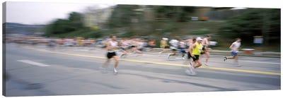 Marathon runners on a road, Boston Marathon, Washington Street, Wellesley, Norfolk County, Massachusetts, USA Canvas Art Print