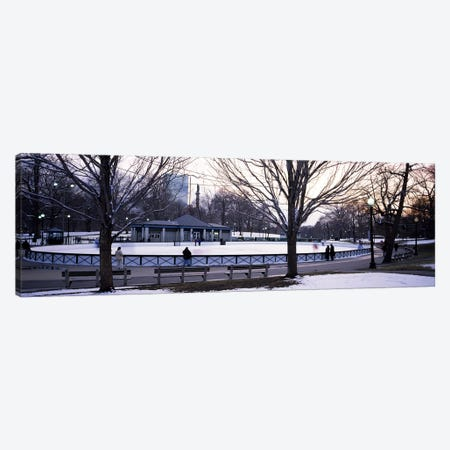 Group of people in a public park, Frog Pond Skating Rink, Boston Common, Boston, Suffolk County, Massachusetts, USA Canvas Print #PIM6973} by Panoramic Images Canvas Art