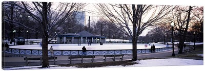 Group of people in a public park, Frog Pond Skating Rink, Boston Common, Boston, Suffolk County, Massachusetts, USA Canvas Art Print