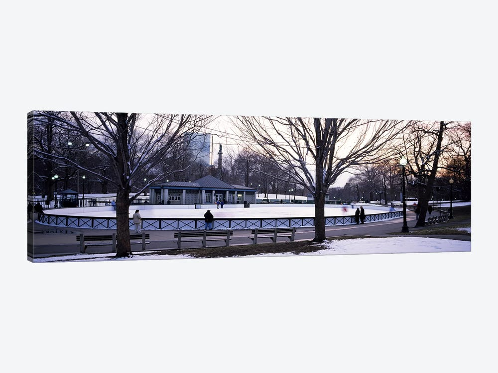 Group of people in a public park, Frog Pond Skating Rink, Boston Common, Boston, Suffolk County, Massachusetts, USA by Panoramic Images 1-piece Canvas Artwork