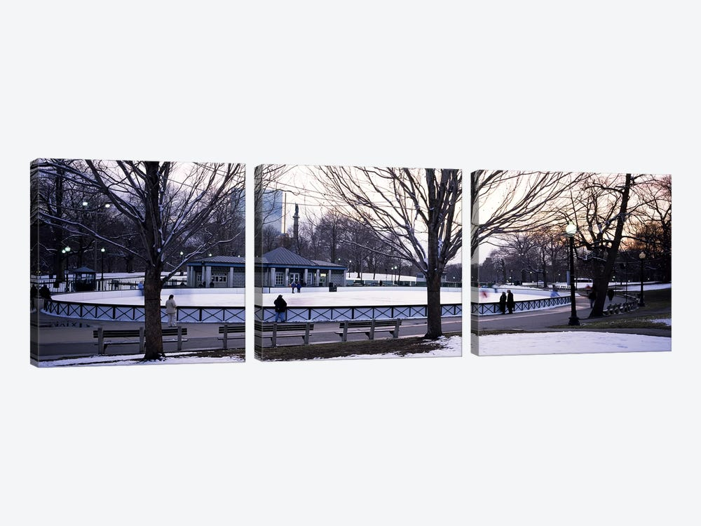 Group of people in a public park, Frog Pond Skating Rink, Boston Common, Boston, Suffolk County, Massachusetts, USA by Panoramic Images 3-piece Canvas Art
