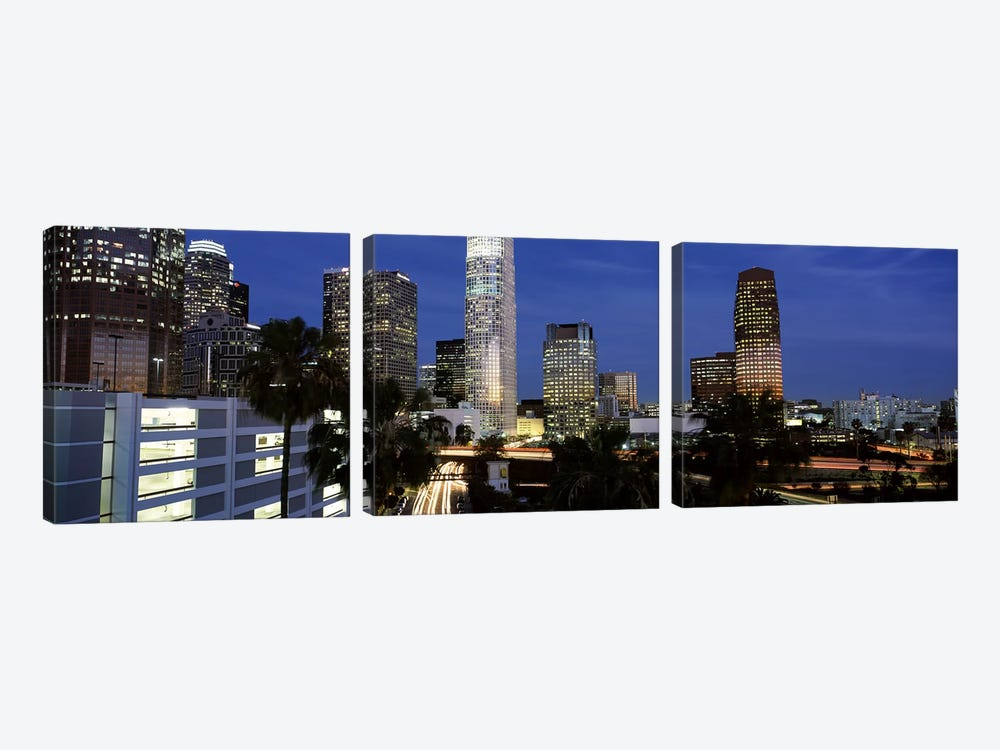 Skyscrapers in a city, City Of Los Angeles, Los Angeles County, California, USA by Panoramic Images 3-piece Canvas Art Print