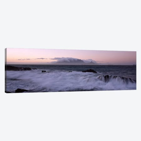 Waves Crashing Over Rocky Outcrops With Table Mountain In The Background, Cape Town, Western Cape, South Africa Canvas Print #PIM6978} by Panoramic Images Canvas Artwork