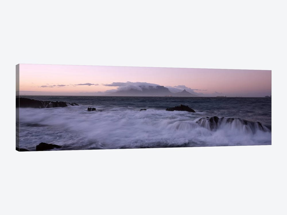 Waves Crashing Over Rocky Outcrops With Table Mountain In The Background, Cape Town, Western Cape, South Africa by Panoramic Images 1-piece Canvas Art Print