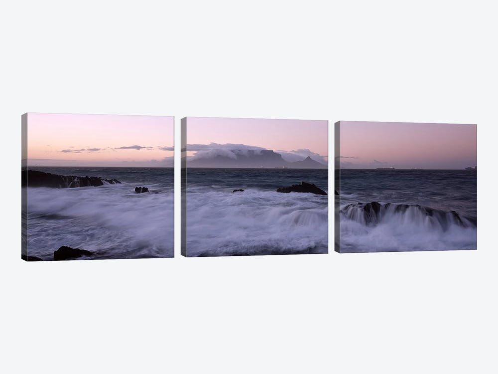 Waves Crashing Over Rocky Outcrops With Table Mountain In The Background, Cape Town, Western Cape, South Africa by Panoramic Images 3-piece Canvas Art Print
