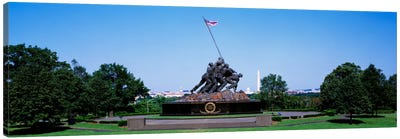 War memorial with Washington Monument in the backgroundIwo Jima Memorial, Arlington, Virginia, USA Canvas Print #PIM698