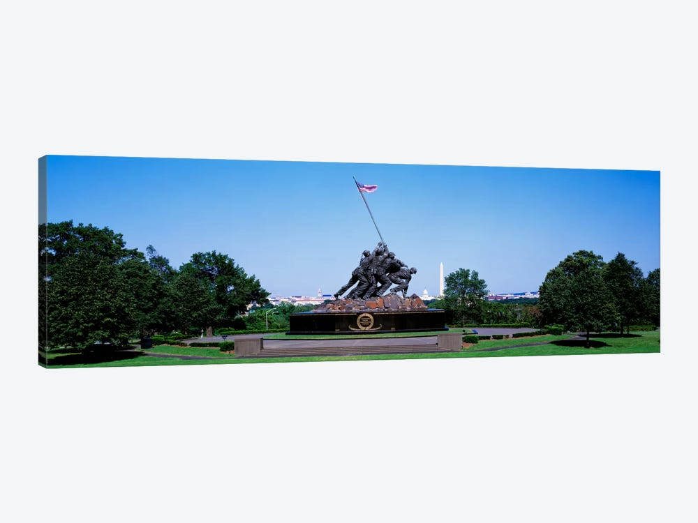War memorial with Washington Monument in the backgroundIwo Jima Memorial, Arlington, Virginia, USA by Panoramic Images 1-piece Canvas Art Print