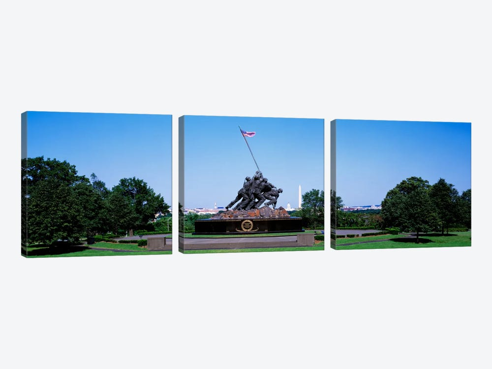 War memorial with Washington Monument in the backgroundIwo Jima Memorial, Arlington, Virginia, USA by Panoramic Images 3-piece Canvas Art Print