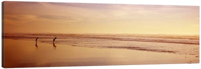 Two children playing on the beach, San Francisco, California, USA Canvas Art Print