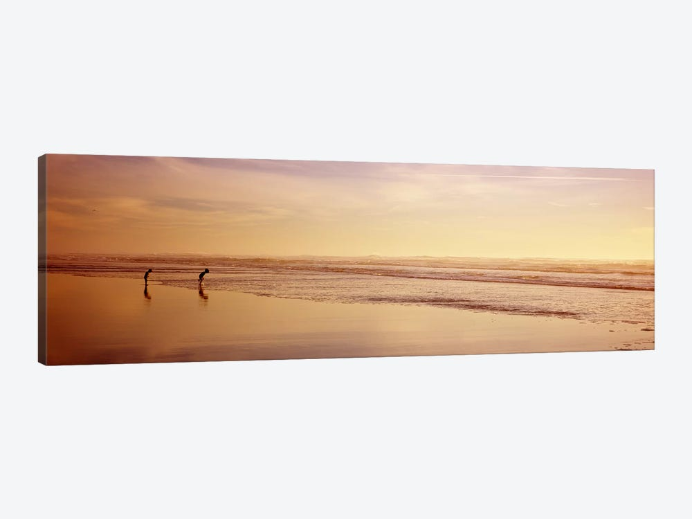 Two children playing on the beach, San Francisco, California, USA by Panoramic Images 1-piece Canvas Wall Art