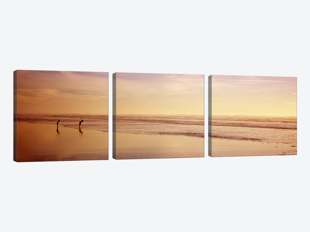 Two children playing on the beach, San Francisco, California, USA by Panoramic Images 3-piece Canvas Artwork
