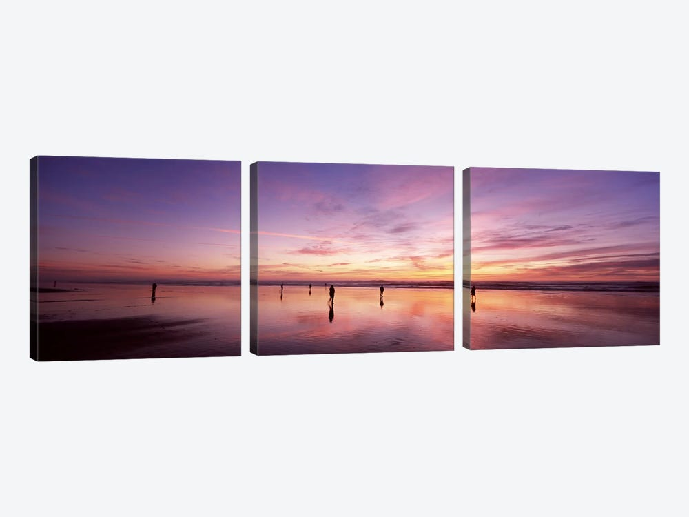 Group of people watching the sunset, San Francisco, California, USA by Panoramic Images 3-piece Canvas Art Print