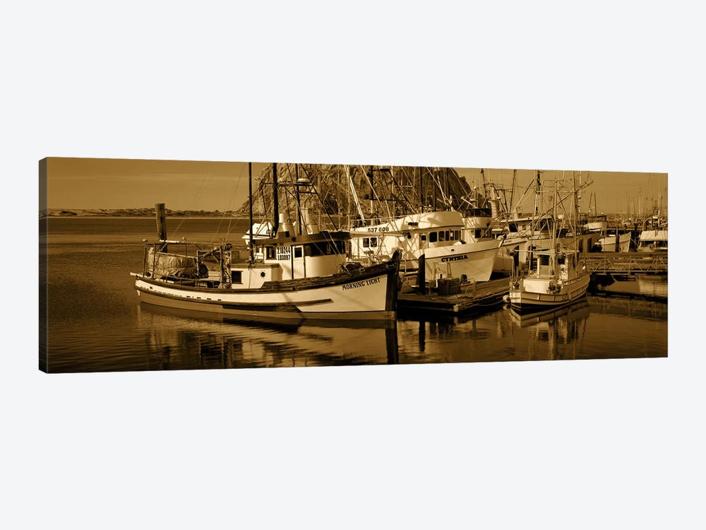 Fishing boats in the sea, Morro Bay, San Luis Obispo County, California, USA by Panoramic Images 1-piece Canvas Wall Art