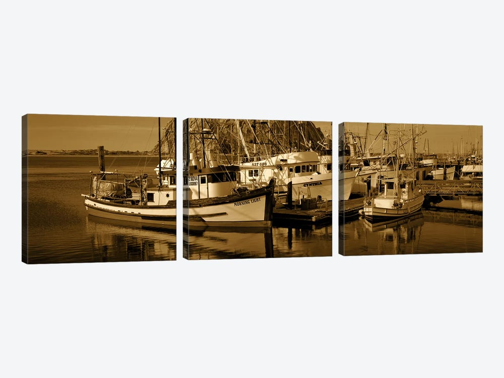 Fishing boats in the sea, Morro Bay, San Luis Obispo County, California, USA 3-piece Canvas Wall Art