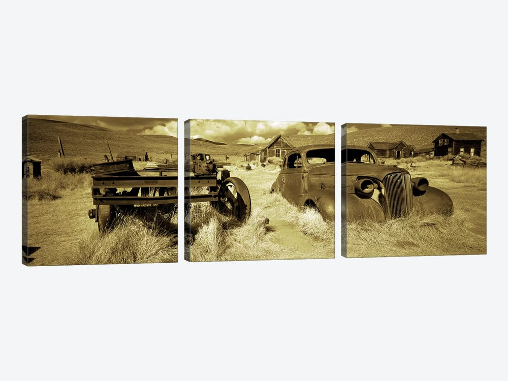 Abandoned car in a ghost townBodie Ghost Town, Mono County, California, USA by Panoramic Images 3-piece Canvas Art