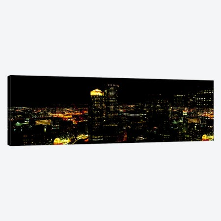 High angle view of a city at night, Boston, Suffolk County, Massachusetts, USA Canvas Print #PIM7017} by Panoramic Images Art Print