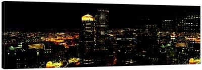 High angle view of a city at night, Boston, Suffolk County, Massachusetts, USA Canvas Art Print