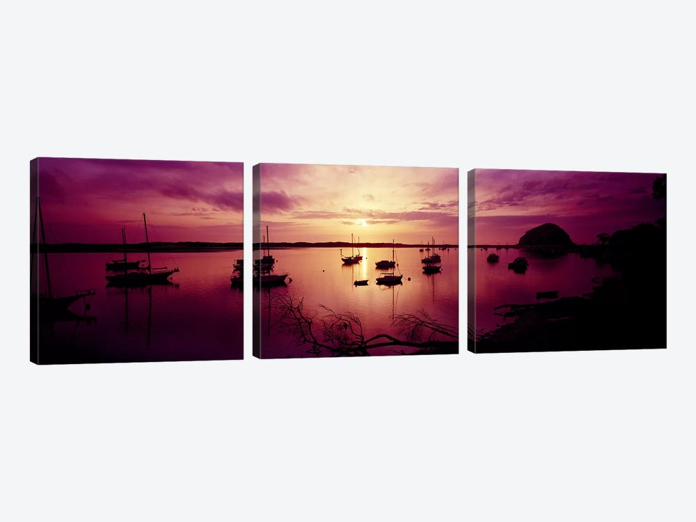 Boats in the sea, Morro Bay, San Luis Obispo County, California, USA 3-piece Art Print