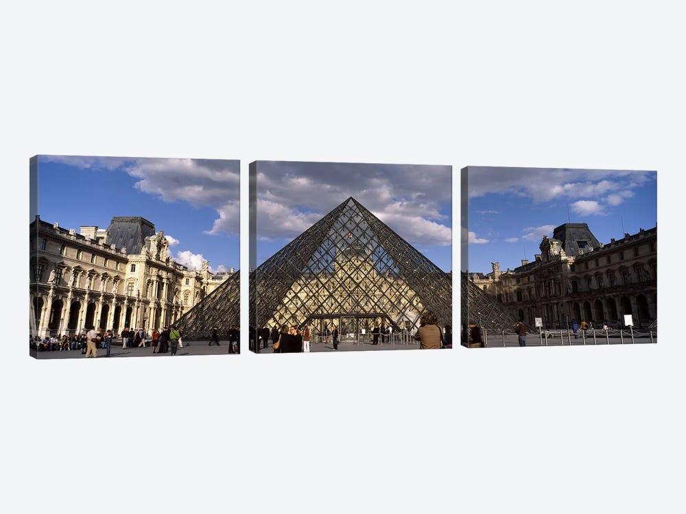 Pyramid in front of a building, Louvre Pyramid, Musee Du Louvre, Place du Carrousel, Paris, Ile-de-France, France by Panoramic Images 3-piece Canvas Art