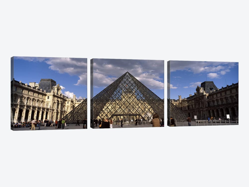 Pyramid in front of a building, Louvre Pyramid, Musee Du Louvre, Place du Carrousel, Paris, Ile-de-France, France by Panoramic Images 3-piece Canvas Art