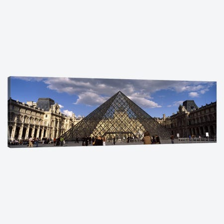 Pyramid in front of a building, Louvre Pyramid, Musee Du Louvre, Place du Carrousel, Paris, Ile-de-France, France Canvas Print #PIM7019} by Panoramic Images Canvas Art