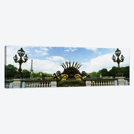 Bridge with a tower in the background, Pont Alexandre III, Eiffel Tower, Paris, Ile-de-France, France Canvas Print #PIM7024} by Panoramic Images Canvas Art