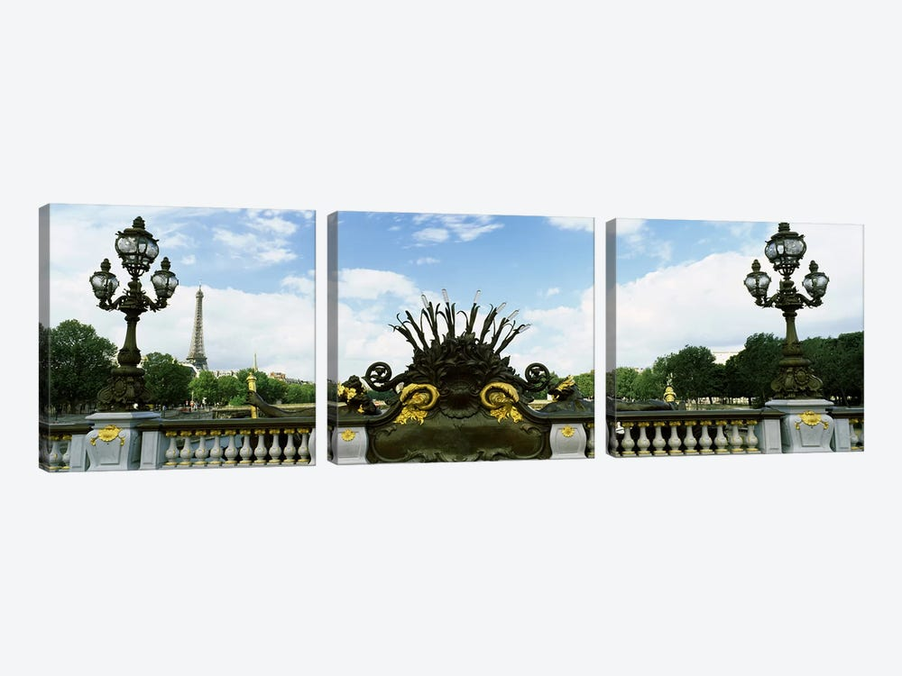 Bridge with a tower in the background, Pont Alexandre III, Eiffel Tower, Paris, Ile-de-France, France by Panoramic Images 3-piece Canvas Art