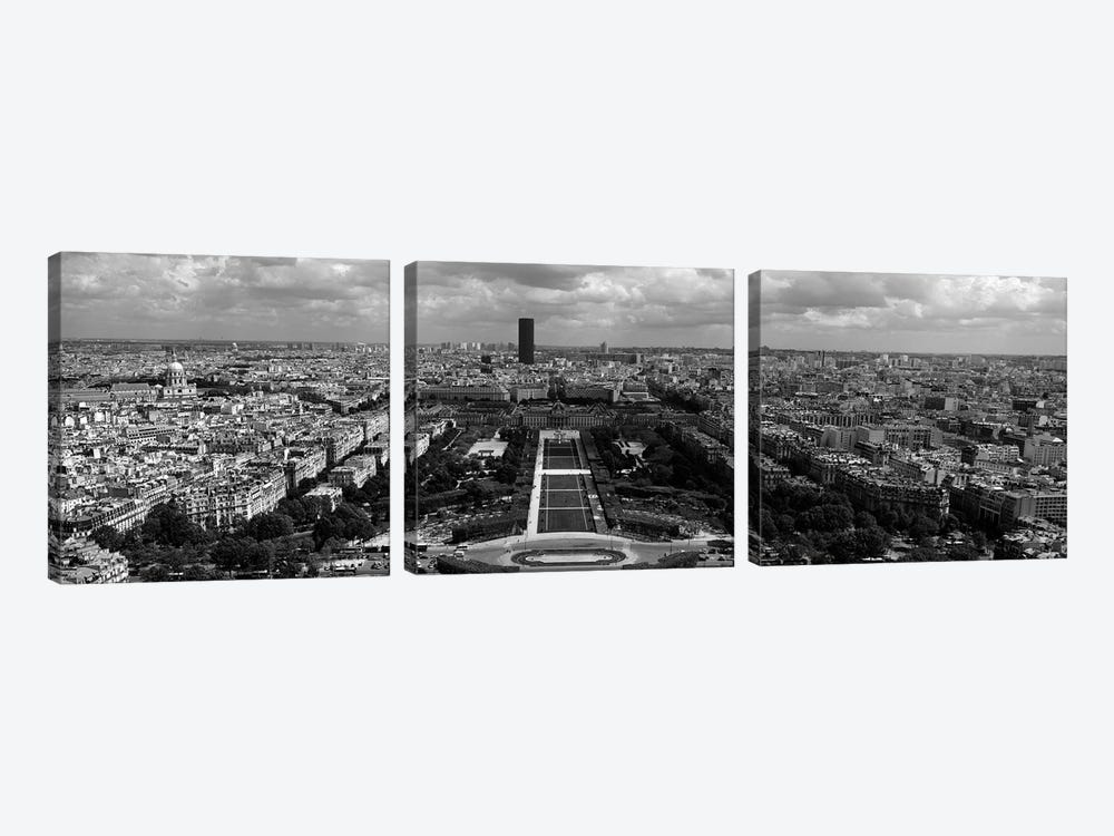 Aerial view of a city, Eiffel Tower, Paris, Ile-de-France, France by Panoramic Images 3-piece Canvas Art