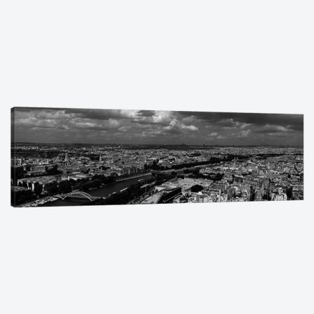 Aerial view of a river passing through a city, Seine River, Paris, Ile-de-France, France Canvas Print #PIM7027} by Panoramic Images Canvas Wall Art