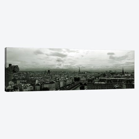 Aerial view of a river passing through a city from Notre Dame de Paris, Seine River, Paris, Ile-de-France, France Canvas Print #PIM7028} by Panoramic Images Canvas Print